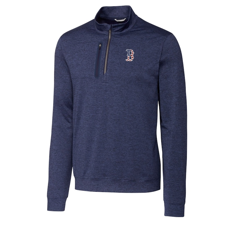 Boston Red Sox Cutter & Buck Stars & Stripes Big & Tall Stealth Half Zip Pullover Jacket - Navy