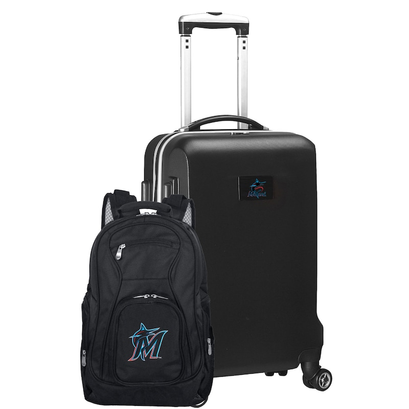 Miami Marlins Deluxe 2-Piece Backpack and Carry-On Set - Black