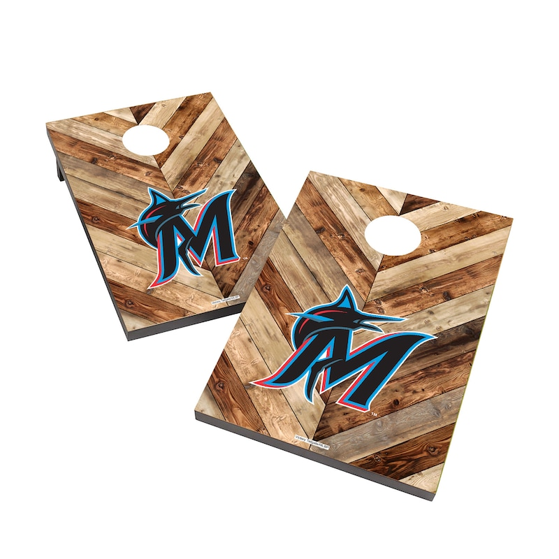 Miami Marlins 2' x 3' Logo Cornhole Board Tailgate Toss Set