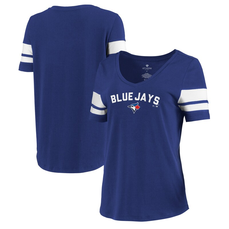 Toronto Blue Jays Let Loose by RNL Women's Scramble Two Stripe Tri-Blend T-Shirt - Royal