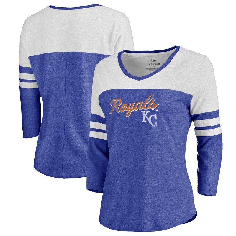 Fanatics Branded Kansas City Royals Women's Royal Rising Script Color Block 3/4 Sleeve Tri-Blend T-Shirt