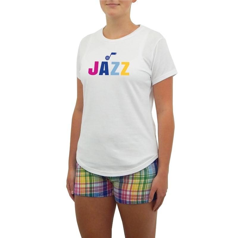 Utah Jazz Concepts Sport Women's Razzle Knit T-Shirt & Short Set - White