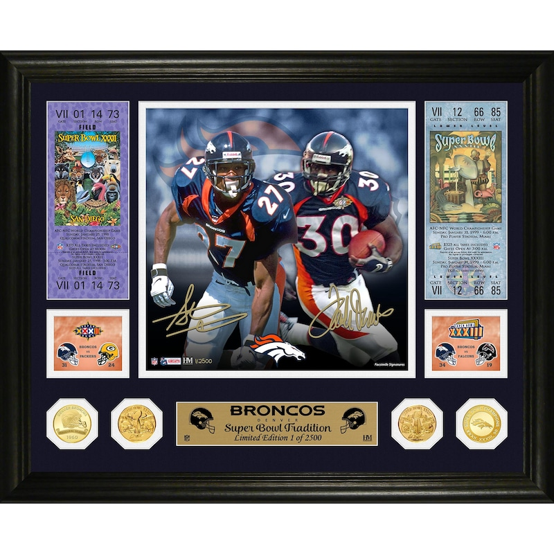 Steve Atwater & Terrell Davis Denver Broncos Highland Mint 16'' x 20'' Super Bowl Traditions Bronze Coin Photo Mint