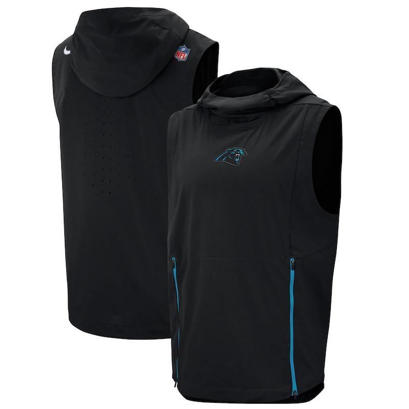 Carolina Panthers Nike Sideline Fly Rush Performance Pullover Hooded Vest - Black