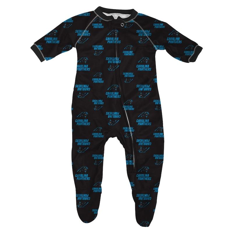 Carolina Panthers Infant Piped Raglan Full Zip Sleeper - Black
