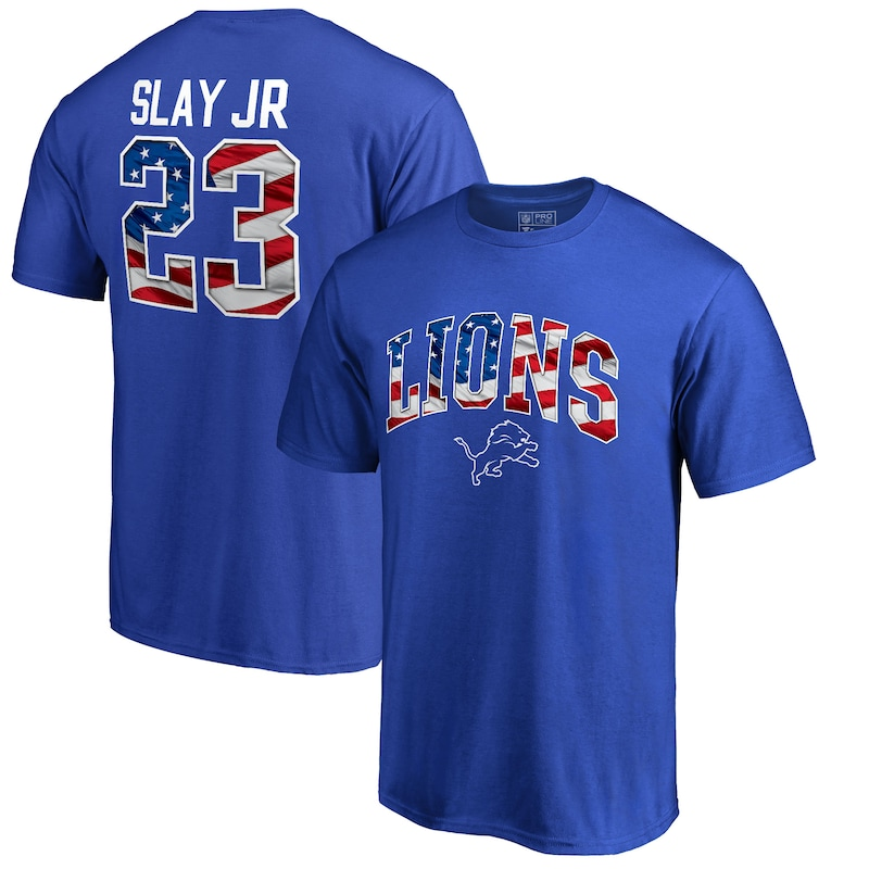Darius Slay Jr Detroit Lions NFL Pro Line by Fanatics Branded Banner Wave Name & Number T-Shirt - Royal