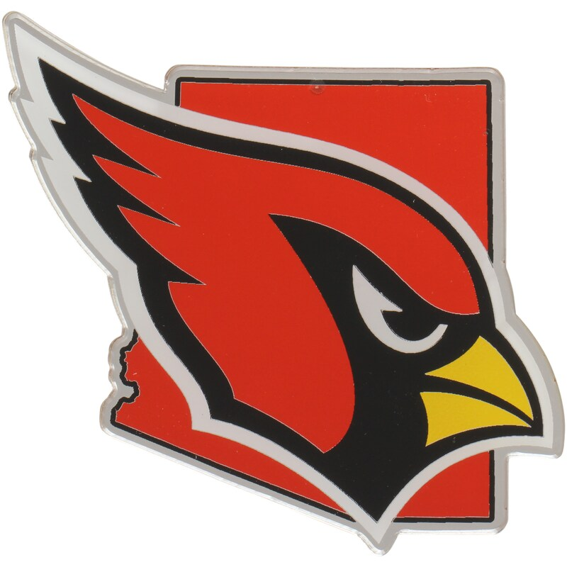 Arizona Cardinals State Shape Acrylic Metallic Auto Emblem