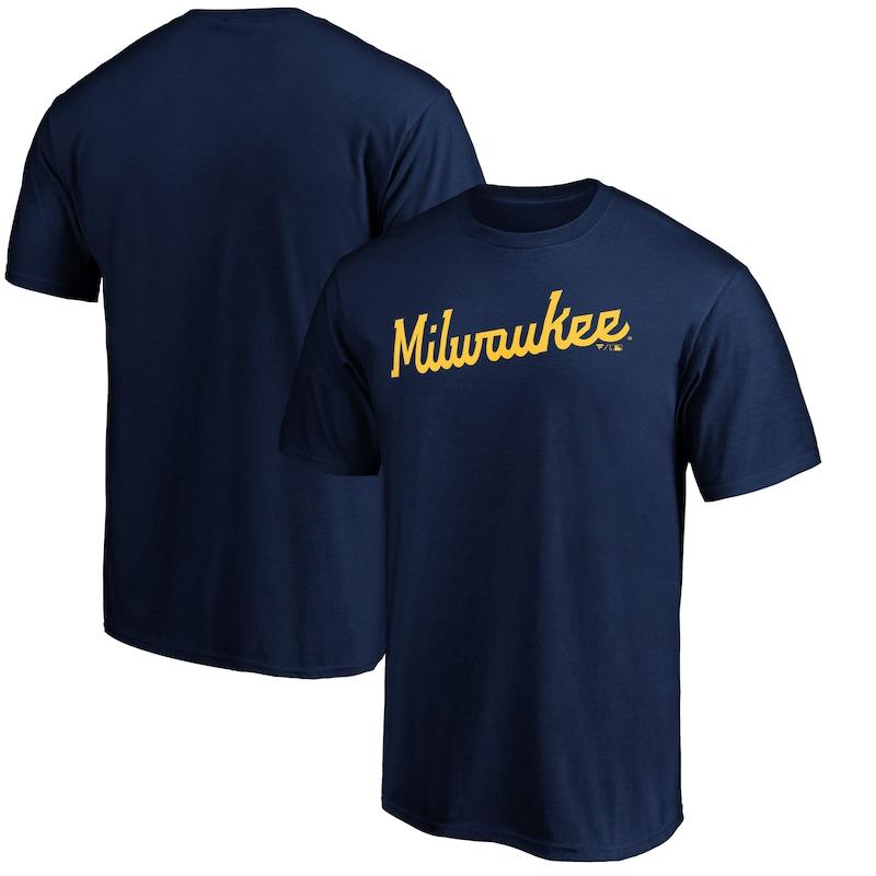 Milwaukee Brewers Fanatics Branded Official Wordmark T-Shirt - Navy