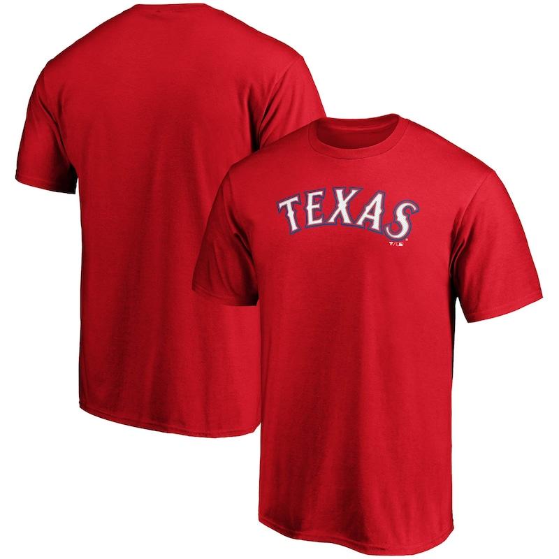 Texas Rangers Fanatics Branded Official Wordmark Logo T-Shirt - Red