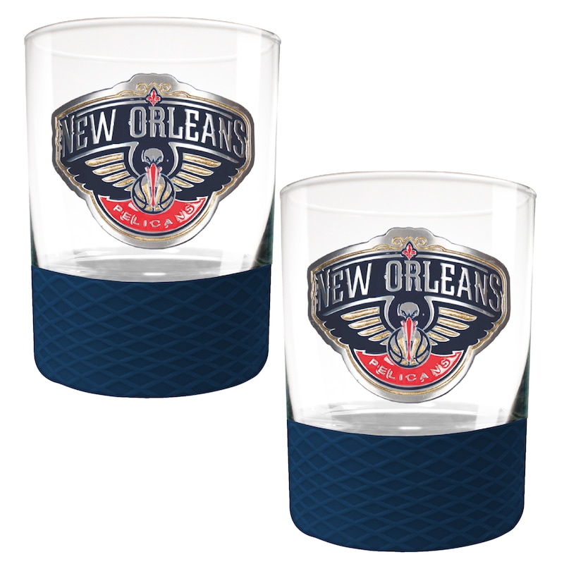 New Orleans Pelicans 2-Pack 14oz. Rocks Glass Set with Silcone Grip