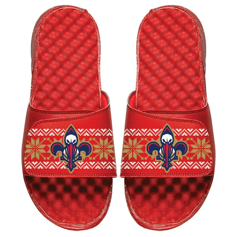 New Orleans Pelicans ISlide Youth Ugly Sweater Slide Sandals - Red