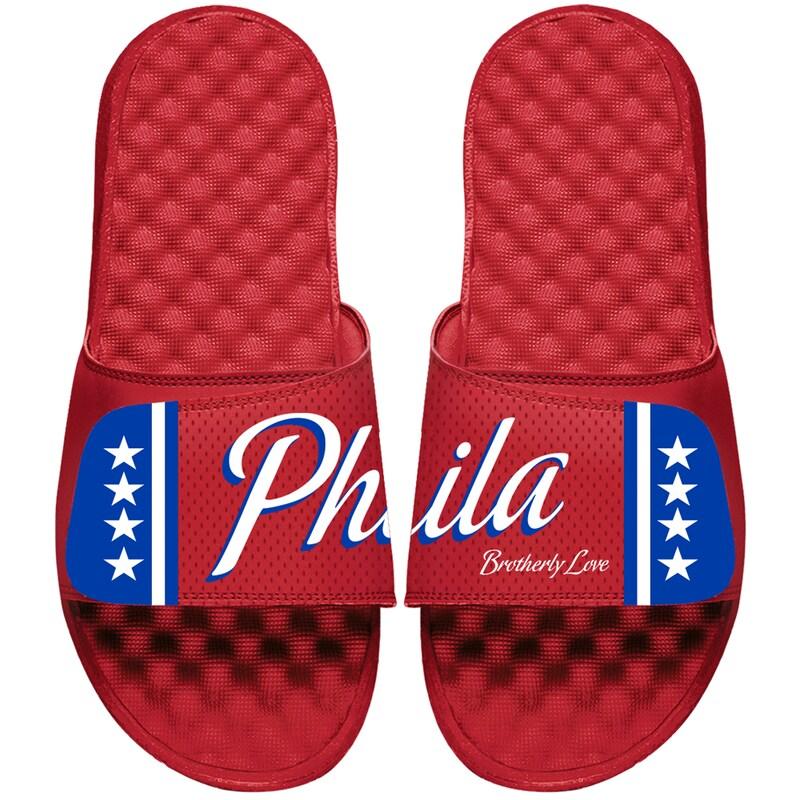 Philadelphia 76ers ISlide Youth Statement Jersey Slide Sandals - Red