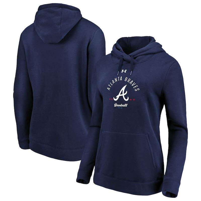Atlanta Braves Under Armour Women's Unassisted Triple Play Fleece Performance Pullover Hoodie - Navy