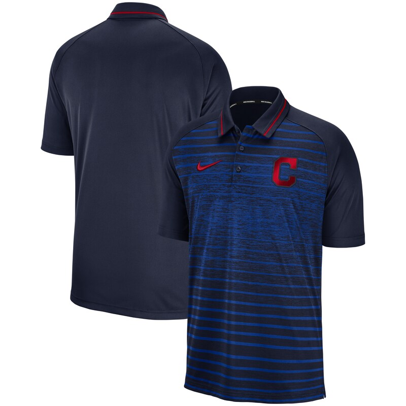 Cleveland Indians Nike Game Stripe Raglan Sleeve Polo - Navy