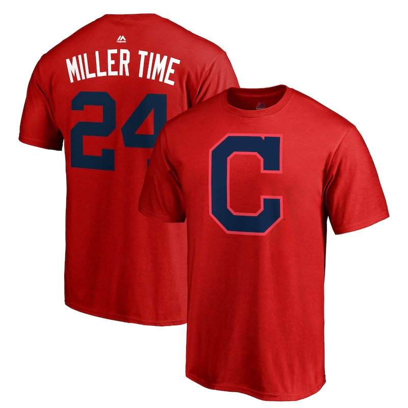 "Andrew Miller ""Miller Time"" Cleveland Indians Majestic 2018 Players' Weekend Name & Number T-Shirt - Red"