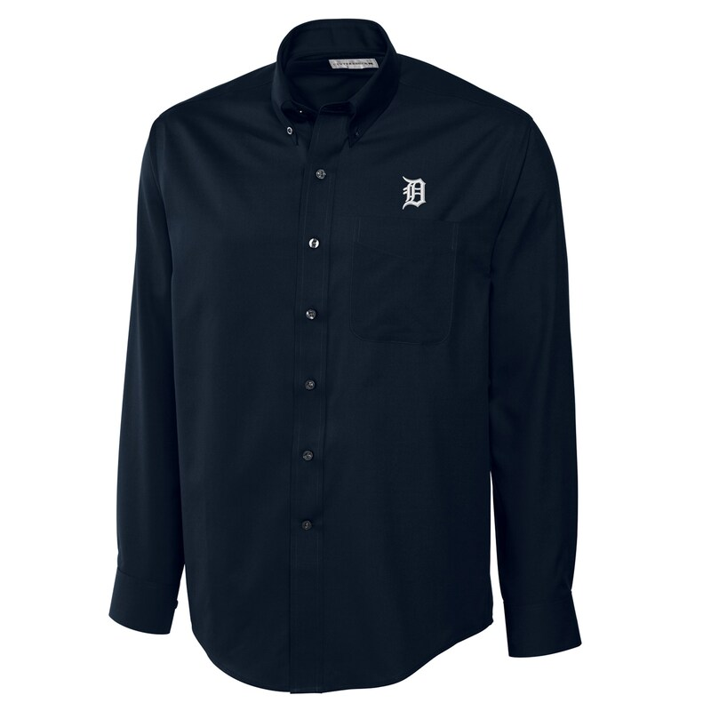 Detroit Tigers Cutter & Buck Big & Tall Epic Easy Care Fine Twill Long Sleeve Shirt - Navy