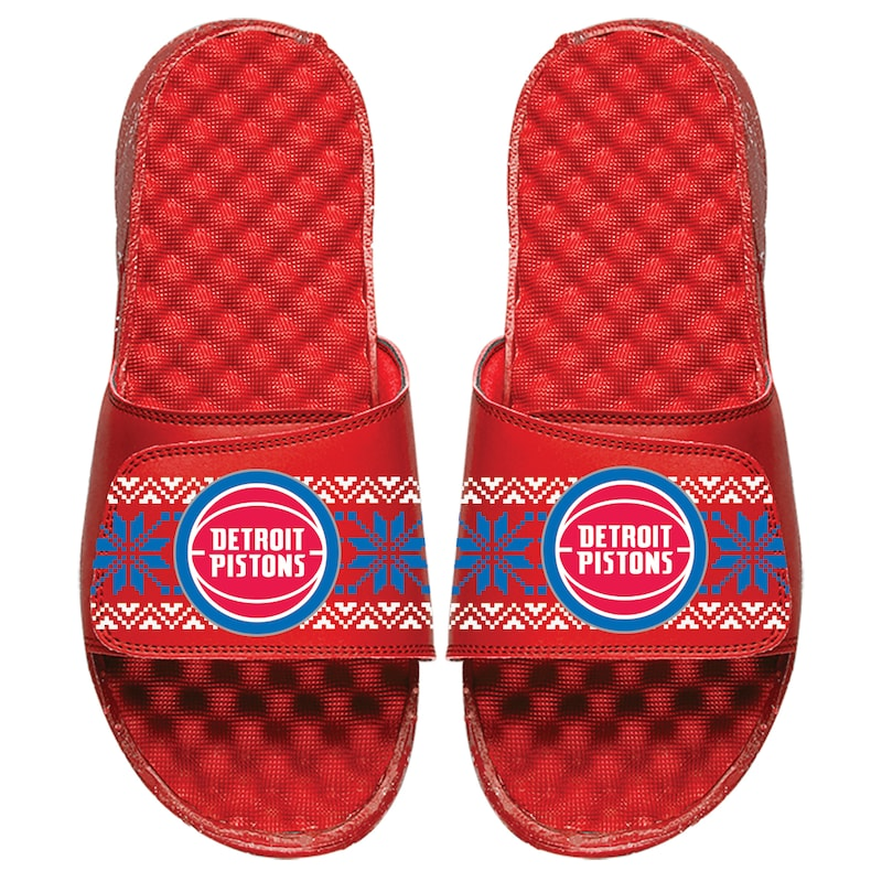 Detroit Pistons ISlide Youth Ugly Sweater Slide Sandals - Red