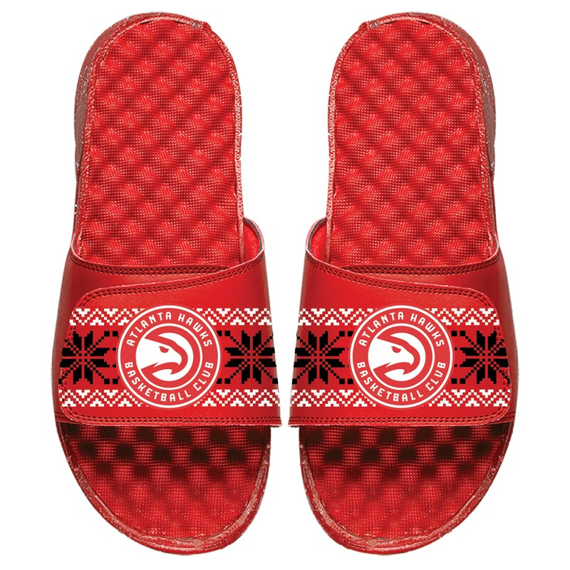 Atlanta Hawks ISlide Youth Ugly Sweater Slide Sandals - Red