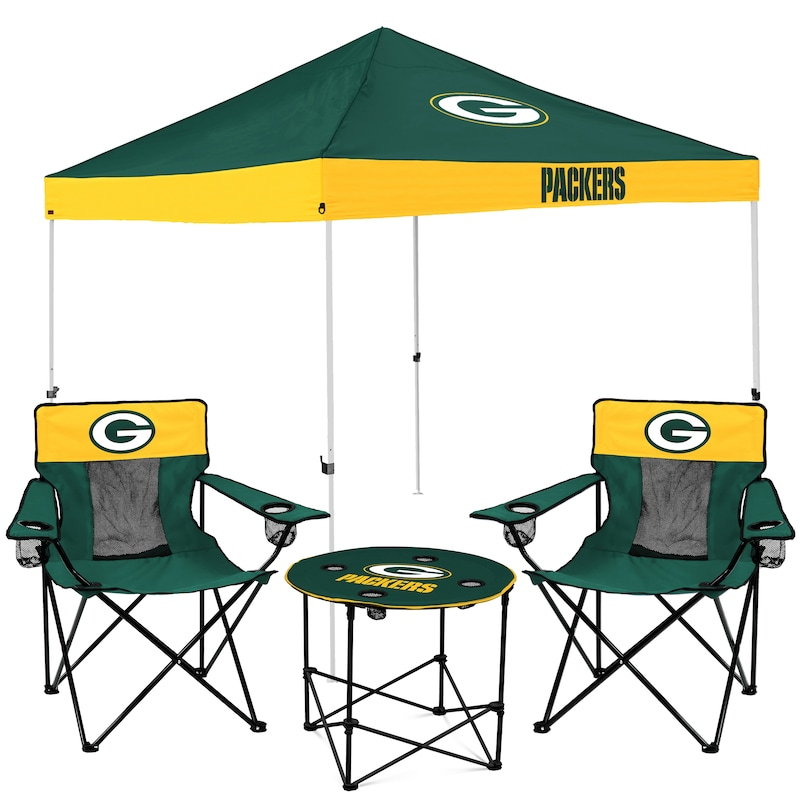 Green Bay Packers Tailgate Canopy Tent, Table, & Chairs Set