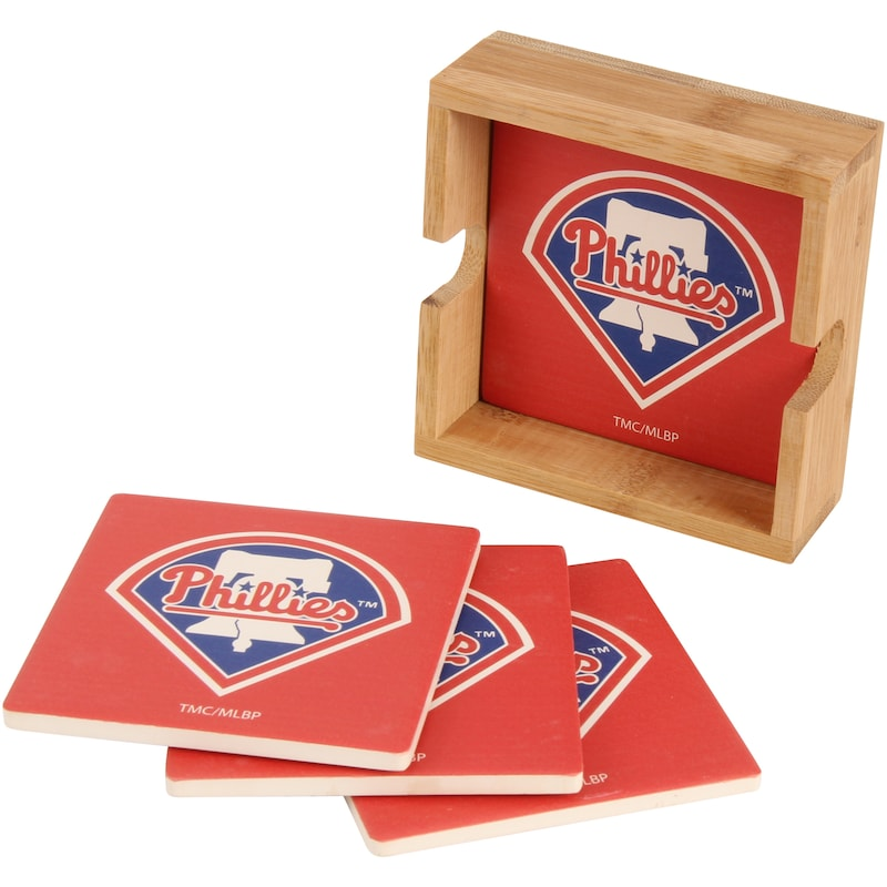 Philadelphia Phillies 4-Pack Square Coaster Set with Caddy
