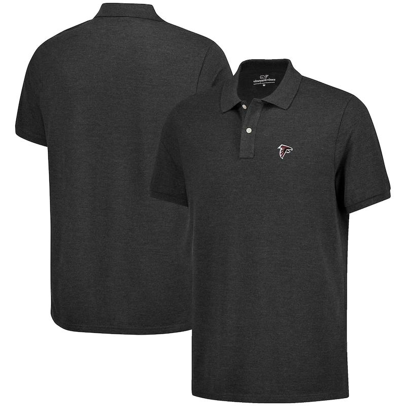 Atlanta Falcons Vineyard Vines Logo Stretch Pique Polo - Heather Charcoal