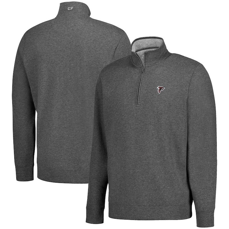 Atlanta Falcons Vineyard Vines Saltwater Solid Quarter-Zip Pullover Jacket - Charcoal