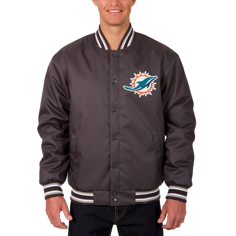 Miami Dolphins JH Design Poly Twill Jacket - Charcoal