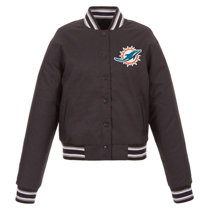Miami Dolphins JH Design Women's Embroidered Logo Poly Twill Jacket - Charcoal