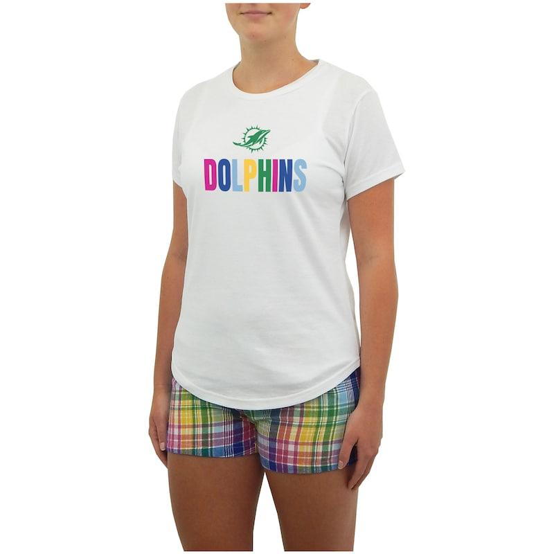 Miami Dolphins Concepts Sport Women's Razzle Sleepwear Top & Shorts Set - White
