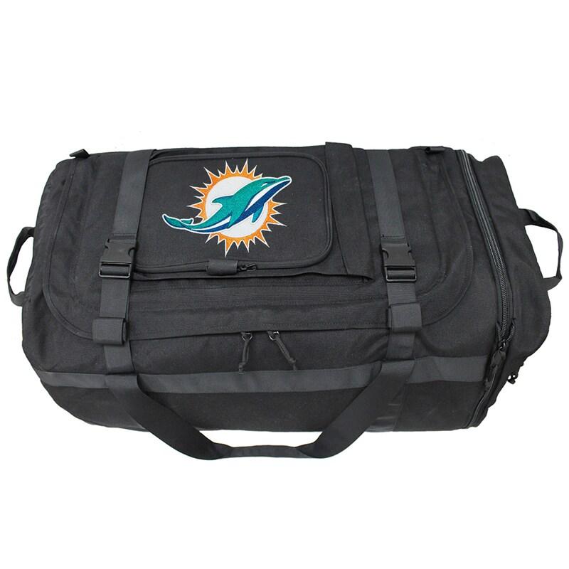 Miami Dolphins Military Duffel Bag - Black
