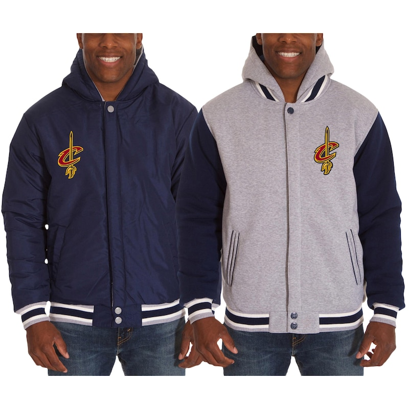 Cleveland Cavaliers JH Design Two-Tone Reversible Fleece Hooded Jacket - Navy/Gray
