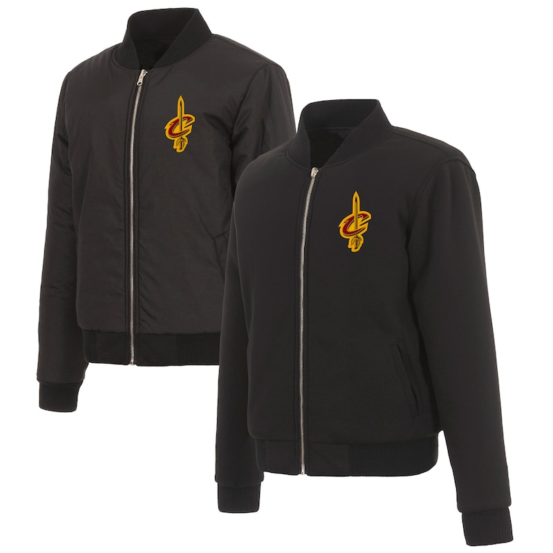 Cleveland Cavaliers JH Design Women's Reversible Jacket with Fleece and Nylon Sides - Black