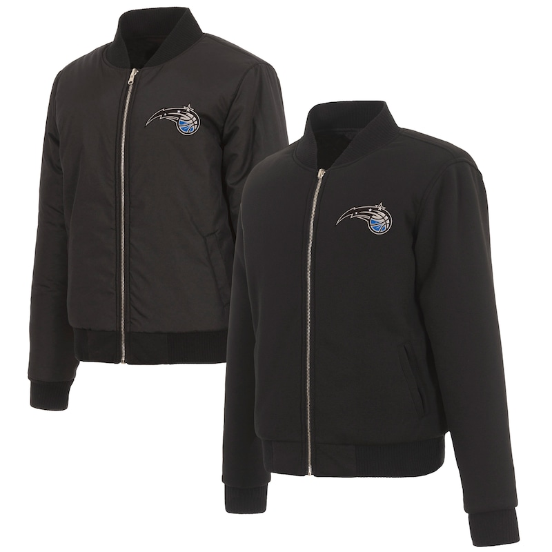 Orlando Magic JH Design Women's Reversible Jacket with Fleece and Nylon Sides - Black