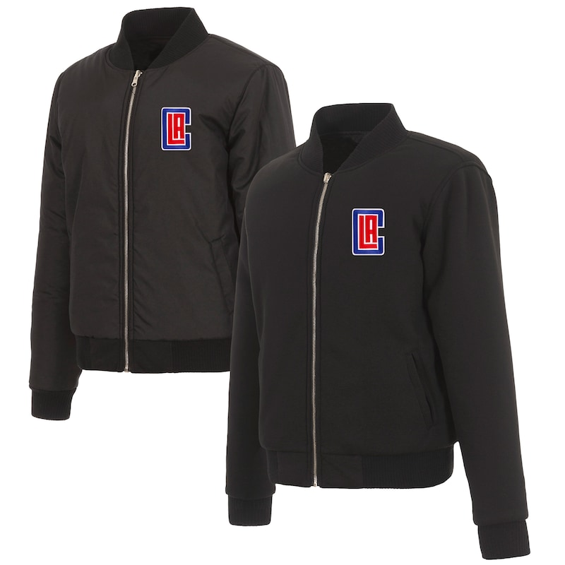 LA Clippers JH Design Women's Reversible Jacket with Fleece and Nylon Sides - Black