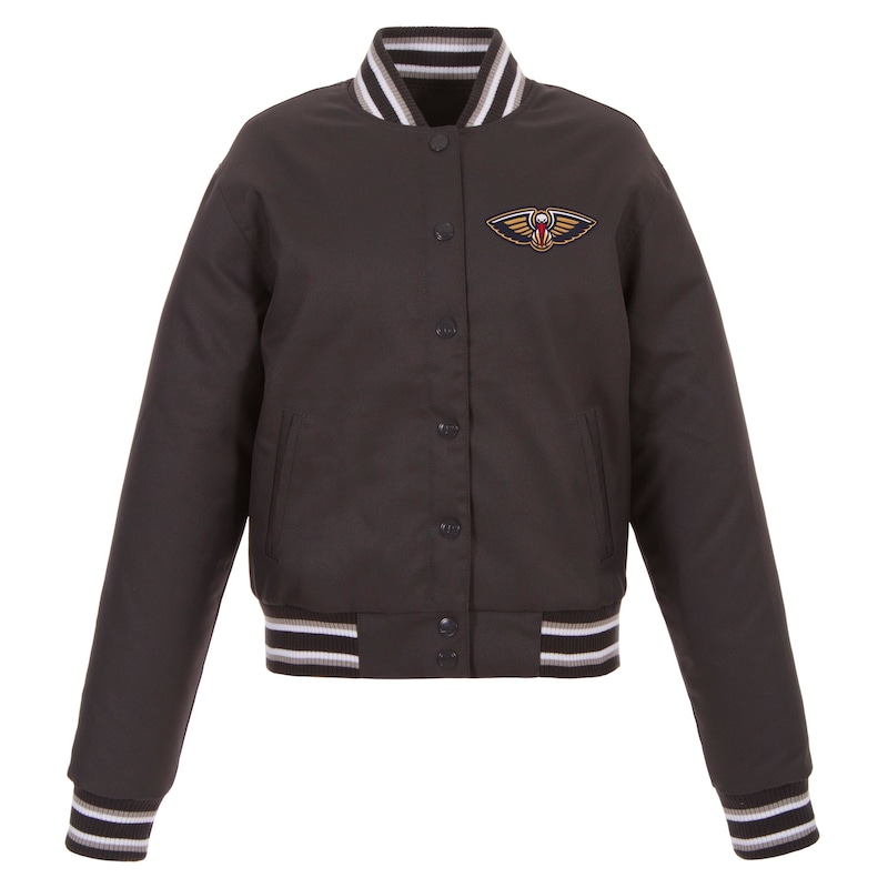 New Orleans Pelicans JH Design Women's Poly-Twill Full-Snap Jacket - Charcoal