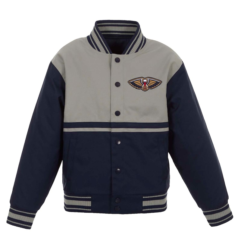 New Orleans Pelicans JH Design Youth Poly-Twill Full-Snap Jacket - Navy/Gray