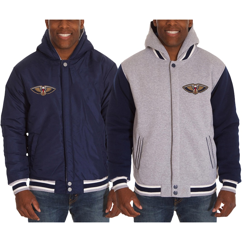 New Orleans Pelicans JH Design Two-Tone Reversible Fleece Hooded Jacket - Navy/Gray