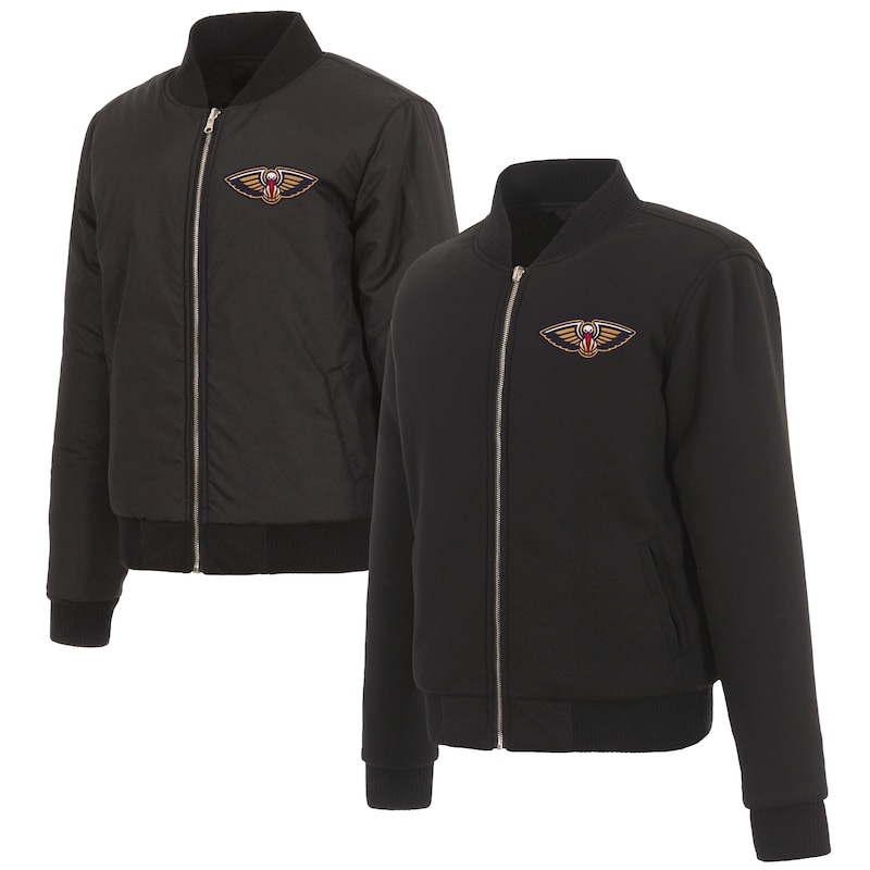 New Orleans Pelicans JH Design Women's Reversible Jacket with Fleece and Nylon Sides - Black