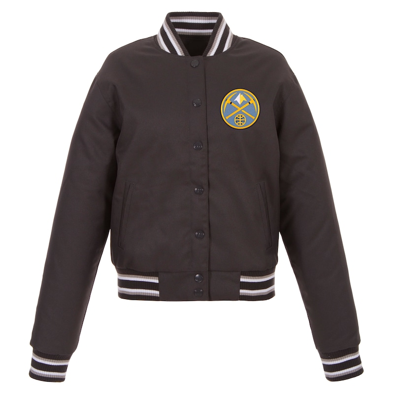 Denver Nuggets JH Design Women's Poly-Twill Full-Snap Jacket - Charcoal