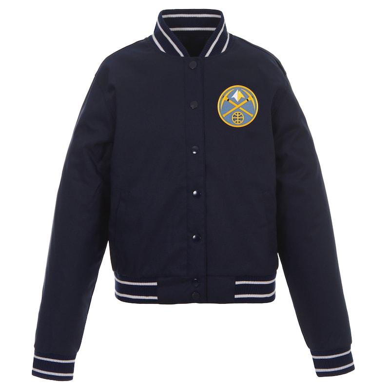 Denver Nuggets JH Design Women's Poly-Twill Full-Snap Jacket - Navy