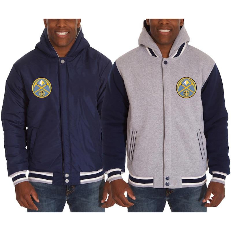 Denver Nuggets JH Design Two-Tone Reversible Fleece Hooded Jacket - Navy/Gray