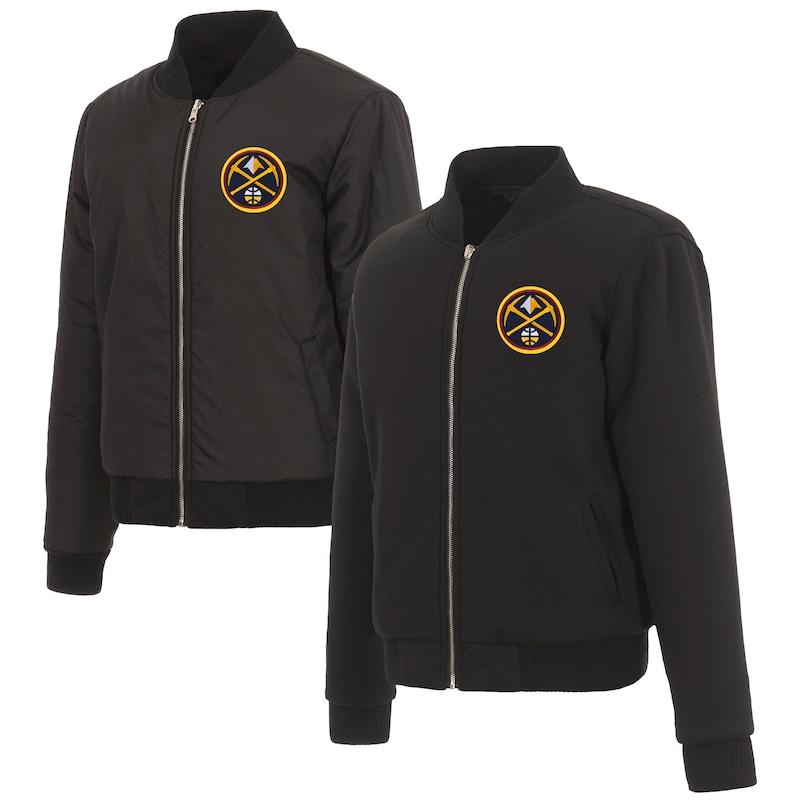 Denver Nuggets JH Design Women's Reversible Jacket with Fleece and Nylon Sides - Black