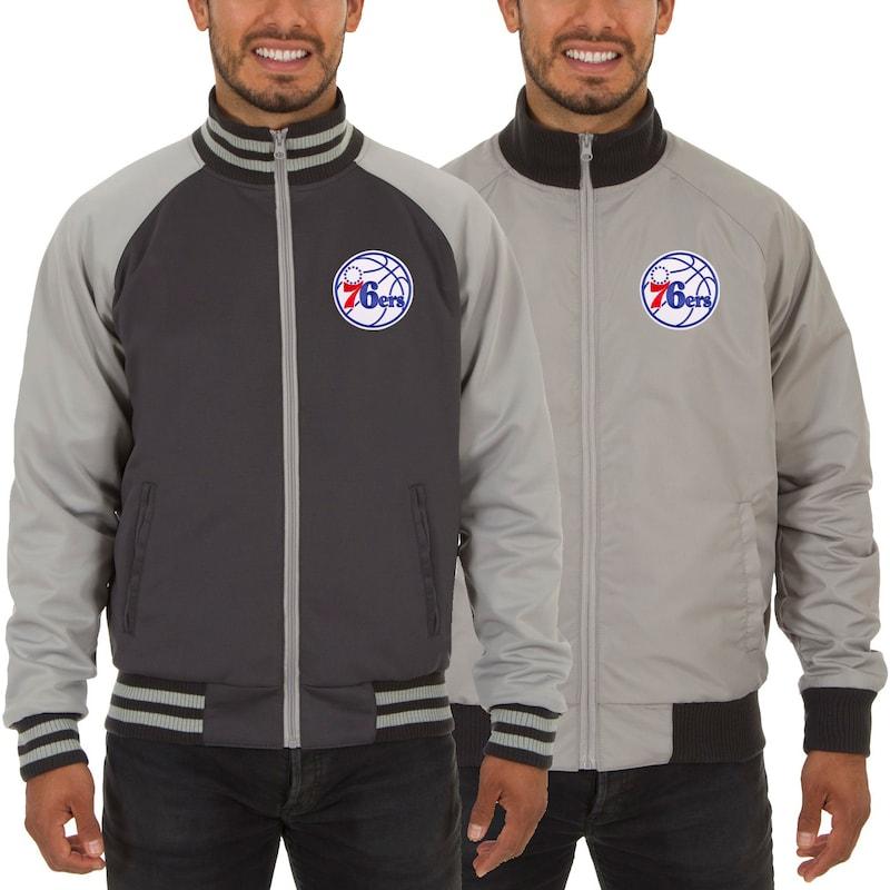 Philadelphia 76ers JH Design Reversible Track Jacket - Gray