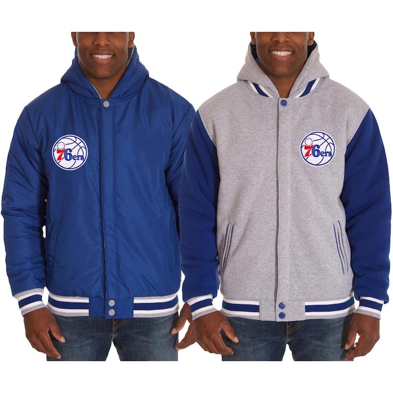 Philadelphia 76ers JH Design Two-Tone Reversible Fleece Hooded Jacket - Royal/Gray