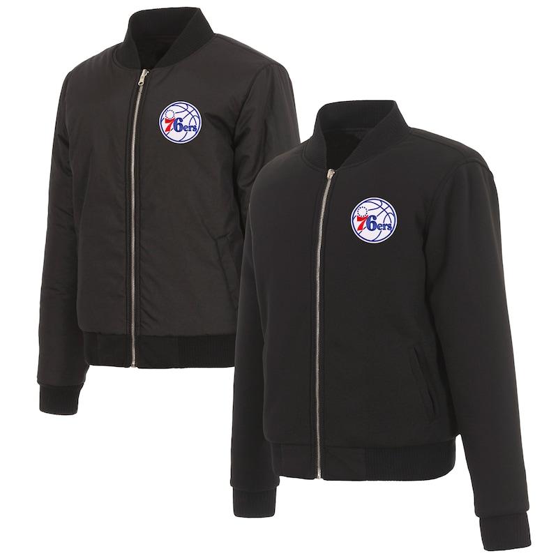 Philadelphia 76ers JH Design Women's Reversible Jacket with Fleece and Nylon Sides - Black