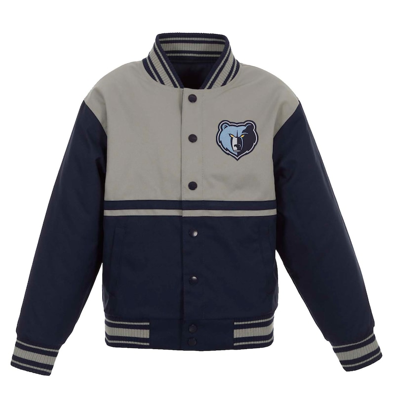 Memphis Grizzlies JH Design Youth Poly-Twill Full-Snap Jacket - Navy/Gray