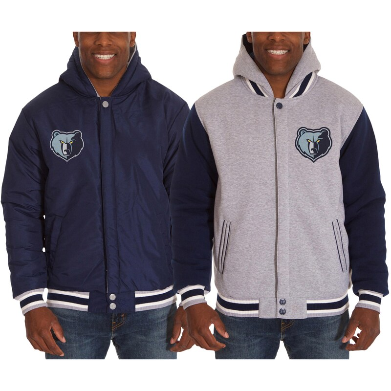 Memphis Grizzlies JH Design Two-Tone Reversible Fleece Hooded Jacket - Gray/Navy