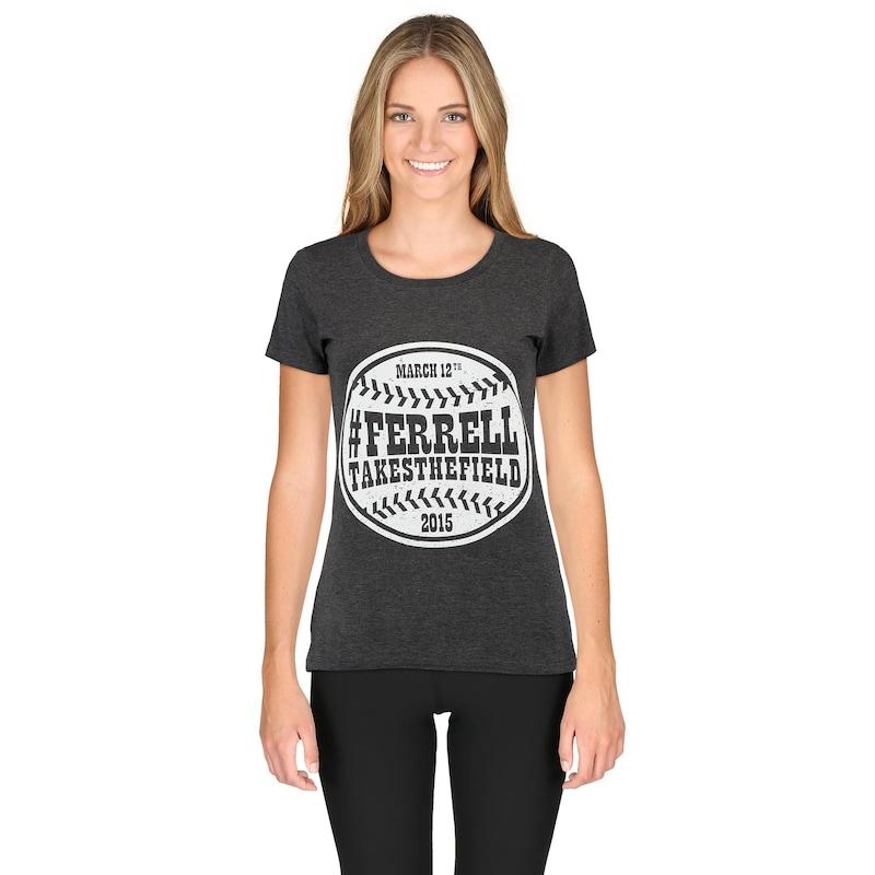 San Diego Padres Majestic Women's #FERRELTAKESTHEFIELD T-Shirt - Heathered Gray