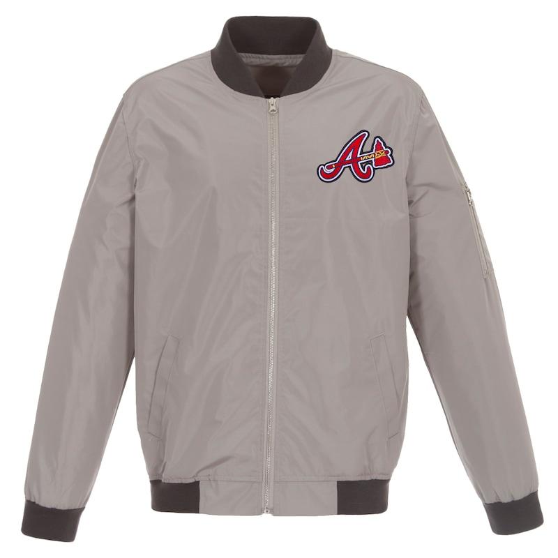 Atlanta Braves JH Design Lightweight Nylon Bomber Jacket - Gray