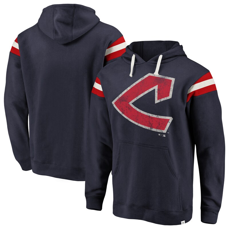 Cleveland Indians Fanatics Branded Big & Tall True Classics Retro Stripe Pullover Hoodie - Navy